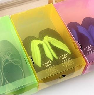 10pcs/lot Colorful Foldable Plastic PP Transparent Shoes Storage Organzier Box Holder Folding Container Case Dustproof