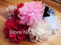 "Free shipping! 4.5"" chiffon fabric DIY flower for garments shoes hats brooches hair ornaments accessories"