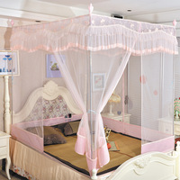 Sleeping Beauty mosquito net luxury flat protective three-door beightening stainless steel thickening zipper type