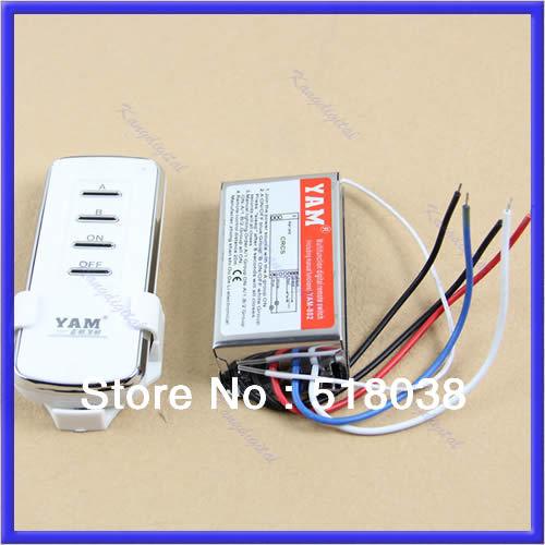 A25Free Shipping 2 Port Way Light Lamp Digital Wireless Wall Switch Splitter Box + Remote Control(China (Mainland))