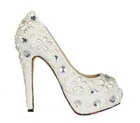 2013 white crystal shoes bridal wedding shoes handmade banquet transparent sheepskin rhinestone women's high heel pumps