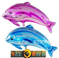50pcs/Lots! Factory wholesale! 80cm Dolphin Foil Balloons,Festival Balloons,Wedding,Celebration,Party,Big Events Blue&Purple