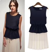 summer women's Pleated dresses chiffon sleeveless vest  Patchwork Waist Lacing Belt Slim dress  S M L XL  free shipping A1052