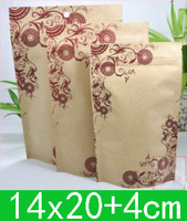 New Kraft paper + Aluminum foil Stand up bags(14x20cm),aluminized foil food Bag,Zipper Gift Packing Pouch for free shipping