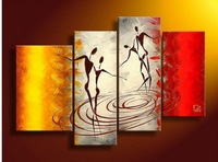 hand-painted oil wall art Warm color lovers decoration abstract Landscape oil painting on canvas 4p