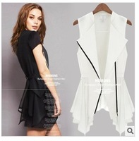 FREE SHIPPING Summer Women's Chiffon Vest Shirt European Slim Sleeveless Long Section Dovetail Waistcoat Vest Large SIze S-3XL