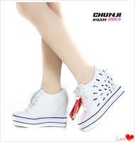 2013 free shipping fashion white sport shoes wedges women's all-match women's shoes trend elevator shoes 8cm