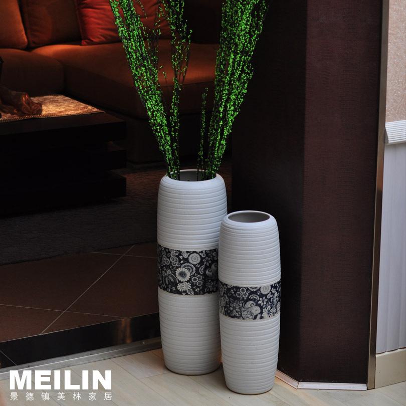 Mode moderne woning decoratie keramiek korte grote vloer vaas decoratie bloem hoge temperatuur - Mode decoratie ...