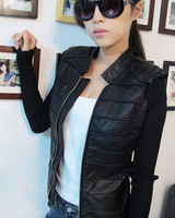 Brand Design Fashion Women's Rivet PU Leather Jacket Coat Lady Hot Sale 2013 New Arrival Outerwear Free shipping