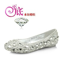 The Bridal Flats Rhinestone Wedding Shoes /White Beaded Flat White /Red Color  ,DHL Free Shipping, JK01