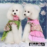 FORDOGS pet dog puppy dress flower print summer pink green(XS-XL)