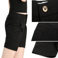 Solid color 2013 summer shorts plus size pants fashion roll-up hem loose solid color mid waist shorts