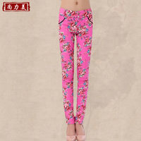 2013 spring women's plus size casual pants slim print pants