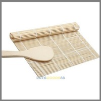 LS4G DIY Sushi Rolling Roller Bamboo Material Mat Maker DIY and A Rice Paddle