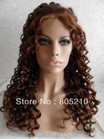 Free Shipping Synthetic hair lace front wig 20inches color #27/30 Curly
