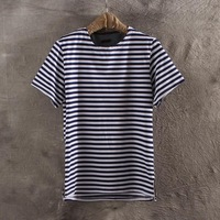 Personalized summer male stripe short-sleeve navy style male t shirt short-sleeve clothes men's clothing t-shirt