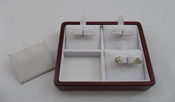 Wooden Jewelery Display Earring Display holder with stand for 4 pairs of earrings studs