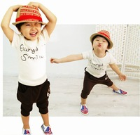 5sets/lot 2013 summer children smile face suit short sleeve t-shirt + harem pant clothing set