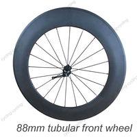 FREE SHIPPING 88mm tubular bike front wheel 700c Carbon fiber road Racing bicycle wheel,single wheel