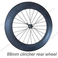 FREE SHIPPING 88mm clincher bike rear wheel 700c Carbon fiber road Racing bicycle wheel,single wheel