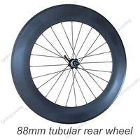 FREE SHIPPING 88mm tubular bike rear wheel 700c Carbon fiber road Racing bicycle wheel,single wheel