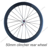 FREE SHIPPING 50mm clincher bike rear wheel 700c Carbon fiber road Racing bicycle wheel,single wheel