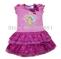 Retail Free Shipping Girls Summer Dresses Cotton Pink Purple Tunic 1-6Years Princess Cute Soft Flash Tulle
