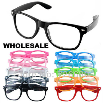 Free Shipping! Wholesale (10 pieces/lot) Mix Colors 2013 Fashion New Unisex Frame Plain Glasses Spectacles 120-0300