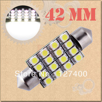2pcs 42mm 16 SMD Pure White Dome Festoon 16 LED Interior Car Light Bulb Lamp