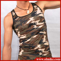 Man's camouflage Undershirt for man's sleeveless Bodybuilding sport stretch shirts mens skinny slim fit Tank Tops C439