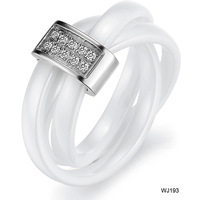 (Min Order is 10$) Fashion hot selling jewelry white personalized rhinestone three ring ceramic ring wj193