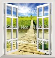 DIY window scenery outside fake windows sticker 95*100cm sofa background bedroom pvc environmental wall sticker removable hj-11