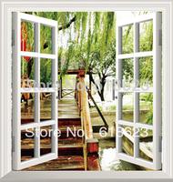 DIY window scenery outside fake windows sticker 95*100cm sofa background bedroom pvc environmental wall sticker removable ty-9