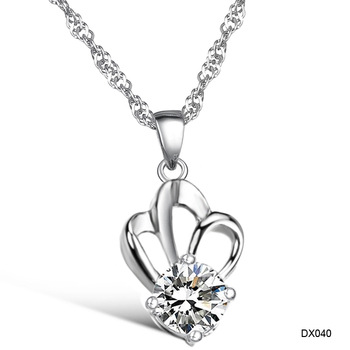 (Min Order is 10$) Hot selling platinum rhinestone women's necklace anti-allergic dx040 heterochrosis