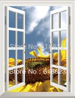 HD Pattern  fake windows sticker 75*100cm sofa background  pvc  art mural home decor Removable wall sticker  hh-3