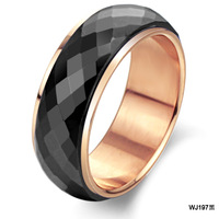 Fashion hot selling male jewelry rose gold black ceramic ring wj197