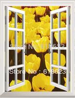 HD Pattern  fake windows sticker 75*100cm sofa background  pvc  art mural home decor Removable wall sticker  hh-1