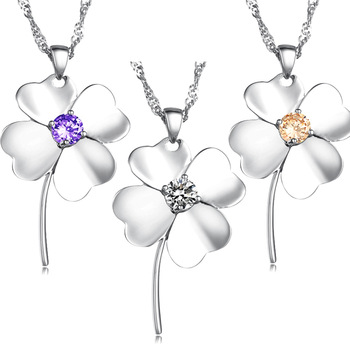 (Min Order is 10$) Hot selling jewelry crystal four leaf clover platinum women's necklace dx014