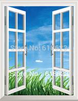 HD Pattern  fake windows sticker 75*100cm sofa background  pvc  art mural home decor Removable wall sticker  ty-1
