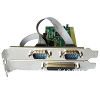 Combo 2 DB-9 Serial (RS-232) + 1 DB-25 Parallel Printer (LPT1) Ports PCI Controller Card,Support Low Profile Bracket