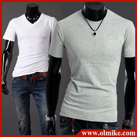 Male solid color men's O-neck under shirt fashion Slim Fit T-shirts man summer short sleeve tee Asia size S-XXL C417