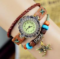 free shipping wholesale discount beautiful vintage dragonfly women's ladies fashion wrist quartz watches bracelet leather belt