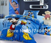 New Spring 3pc kids mickey mouse twin comforter sets,500TC Cotton cartoon mickey design comforter sets without filler, twin size