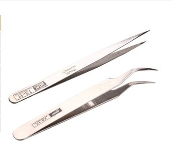 Stainless Steel Makeup Eyelash Nail Art Rhinestones Extension Straight & Curved Tweezers Tool Set