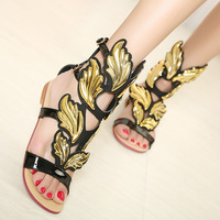 2013 fashion shoes gz gold leaf flat heel sandals star style flame wings women's flat heel shoes