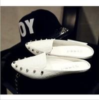 2013 summer pointed toe metal rivet bag low-heeled sandals flat heel slippers female shoes