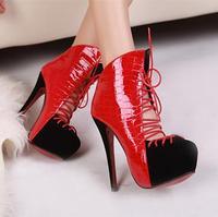 Savager 2013 cross lacing serpentine pattern color block decoration 14cm ultra high heels platform shoes women's boots