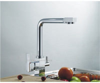 New Style Bathroom Brass Chrome Kitchen Water Purifier faucet double hand sink tap mixer