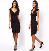 Free shipping black shirred top v neck evening dress  black sheer dress woman dress evening
