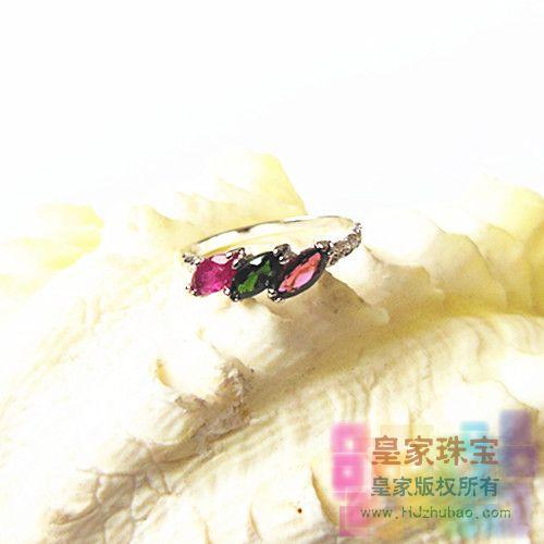 Silver platinum natural tourmaline ring hot-selling fashion female(China (Mainland))